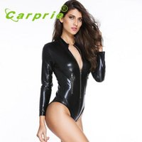 Wholesale race leather jacket - 2016 new arrivel motorcycle car racing suit clothes jacket coverall Sexy Adult Black imitation leather Bodysuits women OC 11