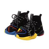 çocuklar örme çorap toptan satış-2018 Sonbahar Yürüyor Boys Kız Sıcak Çorap Sneakers Küçük Çocuk Yüksek Üst Örgü Patik Büyük Çocuk Moda Okul Marka Spor Ayakkabı boyutu 21-37