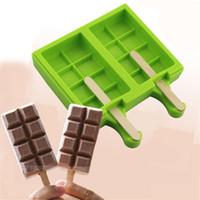 pasta pop silikon kalıp toptan satış-Yeni 2 Kaviteler Için 8 Küçük Çekler Şekil Çikolata Bar Lolipop Kalıp Silikon Dondurma Küp Popsicle Kek Pops Şeker kalıpları