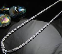 colar de corda de 4mm venda por atacado-Cn7 4mm corda cadeia homens colar, lotes por atacado moda jóias 925 jóias de prata esterlina colares pingentes