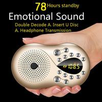 jeu de haut-parleur sd achat en gros de-Affichage numérique Radio LED Mini haut-parleur Radio portable Récepteur FM Prise en charge de la batterie rechargeable Lecture de musique sur carte SD / TF