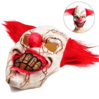 mezuniyet maskesi kadınlar toptan satış-Cadılar bayramı Lateks Palyaço Maskesi Korkunç Çürük Yüz Palyaço Cadılar Bayramı Kostüm Partisi Sahne Maskeleri Cosplay