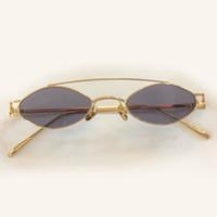2018 Nuevo Pequeño Oval Gafas de sol Mujeres Hombres Retro Metal Gafas  Transparente Rosa Amarillo Lente Morado Mujer Gafas de Sol UV400 Con Caja  Original 49b648c42bd0