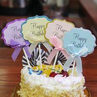 décorations de petit gâteau rose achat en gros de-10 PCS Joyeux Anniversaire Gâteau Toppers Gâteau Décoration Rose Bow Carte D'insertion pour les Décorations De Fête D'anniversaire BRICOLAGE Papier Insérer Carte