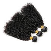 Wholesale human hair weave bonding online - Afro Kinky Curly Human Hair Bundles Remy Hair Natural Black Bundles With Full End No Tangle Hair Weaving