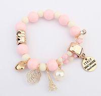 pulseras eiffel al por mayor-Colores del caramelo Boho Rose Flower Charm Bracelets con la torre Eiffel Love Heart colgante pulsera con cuentas para las mujeres de la joyería del verano