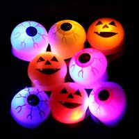 Wholesale Light Up Eyes Halloween - LED Toy Luminescent Rings Pumpkin Lantern Eye Ball LED Ring Flashing Light Up Glowing Finger Rings for Halloween Party