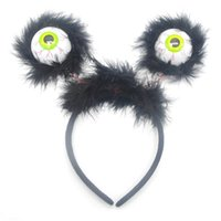 Wholesale toy eyeballs - Children Gag Hair Band Luminescence Eyeball Prop Tricky Horrible Head Hoop Flash Of Light Novelty Hairpin Toys 2 95zp W