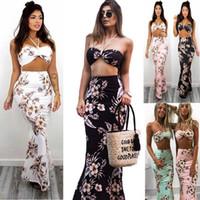 Wholesale Maxi Bra Dress - Sleeveless Halter Bra Print Party Dress Maxi Dress Floral Print Long Dress Beach Summer Dresses LJJO4240