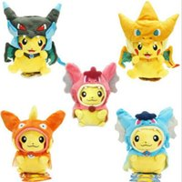 Wholesale Pikachu Plush Soft inch Figures Dolls Toys Anime Styles Pikachu Charizard Slowpoke Ball Plush Dolls Toy Cloak Stuffed Animals