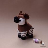 tek parça peluş oyuncak bebek toptan satış-Çocuk Oyuncakları Hediyeler Simülasyon Okapi Doll Peluş Afrika Otlak Hayvanlar Oyuncak Nadir Kawaii Tek Parça