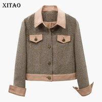 volle brüste großhandel-[XITAO] Einreiher Neue Frauen Herbst Umlegekragen Volle Hülse Plaid Jacken Weibliche Einfarbig Taschen Jacken GWY2452