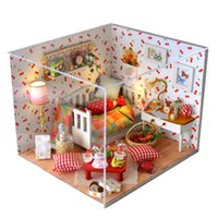 Wholesale miniature brand - Gifts New Brand DIY Doll Houses Wooden Doll House Unisex 3d dollhouse Furniture Toy House Miniature Furniture crafts TW12
