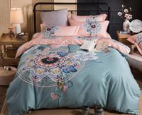 3d bedding set großhandel-Alle Baumwolle im chinesischen Stil vier Stück Anzug Mode und beruhigen Bettwäsche Set Bettbezug Bettlaken Kissenbezüge 200 * 230 cm Größe