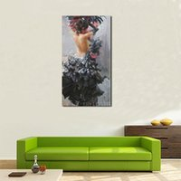 Wholesale portrait nude painting art resale online - Handmade Abstract Wall Art Decor Calligraphy Portrait Sexy Nude Spanish Flamenco Dancer in Black Dress Oil Painting on Canvas
