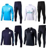 Wholesale black track suits - Soccer tracksuits 2018 Best quality survetement football Marseille Real Madrid training suit sweat top soccer jogging football track