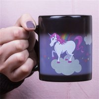 Wholesale color changing paint - Cartoon Rainbow Unicorn Mug Hand Painted Ceramic Coffee Cup Creative Cute Color Changing Magic Water Cups Gift 16xs Y