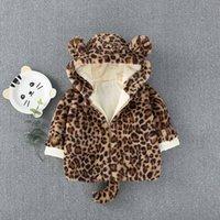 crianças leopardo veludo venda por atacado-Inverno quente Crianças Bebê Meninas Crianças Velo Leopard Ear Com Capuz Engrossar Casacos De Veludo Parkas Casaco Cardigan Outwear Casacos S7386