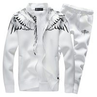 Wholesale Wings Casual Hoodie - Sportsuits Set Men 2017 New Brand Casual Wing Print Tracksuit Sets Men 'S 2pcs Sweatshirt Survetement Homme Marque Hoodies Suits