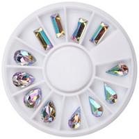 amuletos de pera al por mayor-AB Glitter Crystal Nail Charm Rueda Rectangular Pear Waterdrop Rhinestone Decoración 3D Nail Art Jewelry Al Por Mayor Al Por Menor WY744