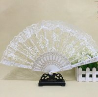 Wholesale White Lace Umbrella Wholesale - 2018 Lace Floral Wedding Fans Handmade Chinese Popular wing chun fan dance White rose bud silk fan Bridal Accessories