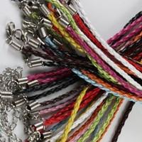 cuir tressé 3mm achat en gros de-100pièces / lot 3mm 17-19inch réglable assorti couleur Faux Braided cuir collier cordon bijoux
