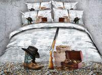 erkek yorgan takımları toptan satış-3D kovboy yatak takımları yorgan kapağı manzara örtüleri serin yorgan kapağı Yatak keten Yorgan Kapakları yetişkinler için erkekler için yatak örtüsü yastık ...