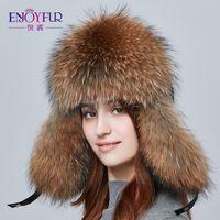 afdbd73ca91 ENJOYFUR Warm Women Winter Hat Earflap Real Fox Fur Patchwork Genuine  Leather Caps With Earflaps Russian Bomber Hats Ushanka