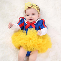 snow white baby tutu 2018 - Halloween White Snow princess baby girl clothes long sleeve Baby Rompers + Crown Headbands+ tutu skirts Infant Outfits Infant Clothing A2032