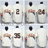 camisetas de uniforme de beisbol al por mayor-Houston Colts 1964 camisetas de béisbol # 2 Nellie Fox 24 Jimmy Wynn 35 Joe Morgan uniforme de juego de jugador crema