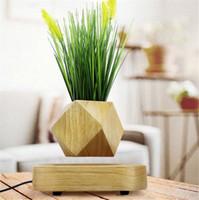 ingrosso piante da giardino decorazione-Wood Garden Decoration Vasi di fiori Piante nel centro della sospensione aerea Piante bonsai Floating Magnetic Suspension Flower