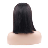 Wholesale black women hair cuts online - Lace Front Human Hair Bob Wigs for Women Natural Look Black Brown Short Bob Cut Wigs Brazilian Straight Remy Hair Blunt Cut Wig