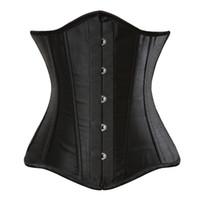 lingerie aço desossado venda por atacado-Espiral de Aço desossada underbust espartilho preto sexy bustier das mulheres lace up desossada lingerie Plus Size XS-6XL
