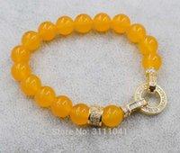 pulseiras de jade amarelo venda por atacado-jade amarelo rodada pulseira de 10mm 7.5 polegadas atacado grânulos natureza artesanato