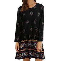 Wholesale Long Elegant Floral Dresses - 5XL Bohemian Floral Print Autumn Dress Long Sleeve Elegant Women Shirt Dress Sundress Plus Size Boho Beach Dresses Vestidos