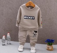 Wholesale mickey for sale - Baby boys clothing sets new autumn spring children girls boys cartoon Mickey sport suit kids sweatshirt pants tracksuit sets