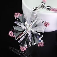 ingrosso ornamenti di cristalli-Ornamenti per ciondolo per auto Appesi cristallo di diamante Fiocco di neve Specchietto retrovisore Decorazione Diamante Fiocco di neve Accessori interni auto