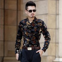 Wholesale british dress shirts - Men's British Style Long-Sleeve Shirts Male Slim Casual Velvet Formal Dress Shirt Slim Fit Floral Shirt For Man Thin Soft Autumn