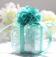 Wholesale Square Gift Boxes Wholesale Clear - Wedding Favors Candy Boxes Romantic Roses Silk Flowers Favor Holders Gift Boxes Plastic Clear Silk Cube
