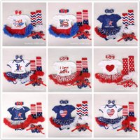 Wholesale Baby Tutu Socks - 10Styles Baby Grils Tutu Dresses Rompers 4Pcs Set with Rompers Headbands Shoes Socks 0-2T Red Blue Stars Summer Dresses Independence Day Kid