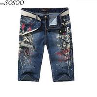 ingrosso drago americano-Jeans corti Cotton dragon Stampa 3D design splash-ink paura di dio jeans stile europeo e americano jeans moda uomo # Y032