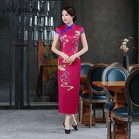 cheongsam largo morado al por mayor-Purple Print Animal Modern Chinese Gown Vestido tradicional de mujer Sexy Silk Flower Girl Long Cheongsam Qipao Vestidos Casual
