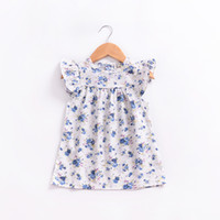 Wholesale infant pageant dresses sleeves - 2018 New Style Toddler Infant Baby Girls Floral Printed Dress Summer Flying Sleeves Dress Princess Party Pageant Dresses