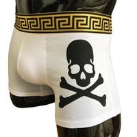 homens crânio cueca venda por atacado-(2 peças / set) True Reveler Men Boxer Shorts crânios Underwear homem cuecas