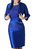 abendkleid mutter bräutigam großhandel-Royal Blue Lace Short Mutter Formelle Kleidung Mit Wrap Mutter des Bräutigams Hochzeit Gast Kleid Abend Mutter Der Braut Kleid Anzug Kleider