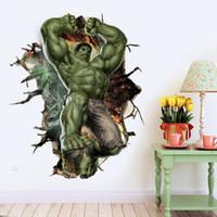 borboletas espelhos pretos 3d venda por atacado-3d murais diy o hulk vingadores dos desenhos animados pvc adesivos de parede papel de parede pode ser removível menino quarto do berçário kid room decor frete grátis