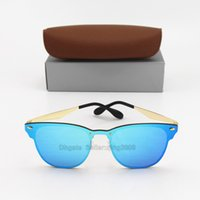 Wholesale gold rimless glass online - 1pcs New Fashion Txrppr Brand Designer Sunglasses Men Women Gold Frame Blue Colorful lens Vintage Classic Quality With Box And Case
