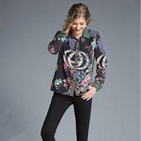 frauen langarmhemd muster großhandel-Hohe Qualität Runway Designer Shirts 2018 Herbstfrauen Langarm Vintage Muster Print Weibliche Casual Bluse S-XL D18103104