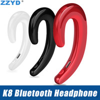 Wholesale note wireless headphones resale online - ZZYD K8 Bluetooth Headphones Business Wireless Earphone Car Hands free Mic Bone Conduction headset For iP Samsung Note