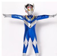 Wholesale free cosplay for sale - 2018 new style children Cosplay Red yellow and blue Ultraman Boys and girls Dance Conjoined clothes short style